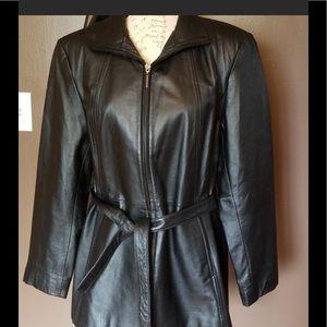 Worthington Black Leather Jacket w/Belt